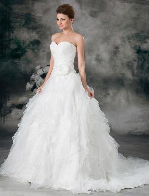 Glamouröses Elfenbein Gerafftes Herzausschnitt A-Linie Brautkleid aus Organza_3