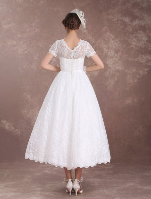 Lace Wedding Dresses Short Sleeve 1950'S Vintage Bridal Dress Sweetheart Illusion Ivory A Line Tea Length Wedding Reception Dress Exclusive_8