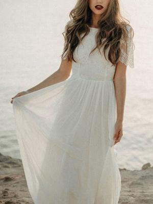 Einfache Hochzeitskleid A-Linie Jewel Neck Spitze Kurzarm Bodenlangen Chiffon Strandhochzeit Brautkleider_3