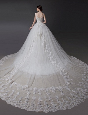 Brautkleider V-Ausschnitt Spitze Applique Brautkleid Pailletten Perlen Illusion Lange Kathedrale Zug Brautkleid_5