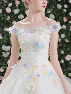 Flowers Quinceanera Dresses White Luxury Off The Shoulder Rhinestones Beading Short Sleeve Women'S Pageant Dresses With Train_6