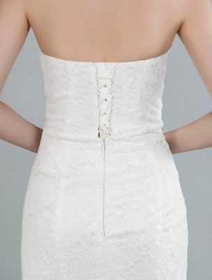 Einfache Brautkleider trägerlose ärmellose Spitze Meerjungfrau Brautkleider mit Zug_2