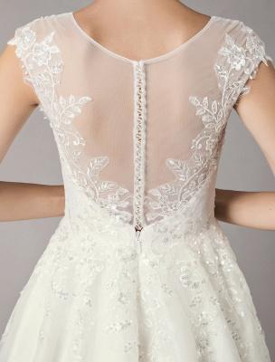 Vintage Wedding Dresses Short Lace Tulle Sequin Tea Length Ivory Bridal Dress_8