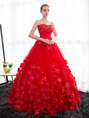 Elfenbein Brautkleider Prinzessin Ballkleider Brautkleid 3D Blumen Trägerlos Perlen Frauen Festzug Kleider_6