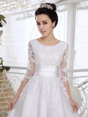 Einfache Brautkleider 2021 Kurze Spitze Applique Illusion Halbarm Tee Länge Brautkleid Exklusiv_5