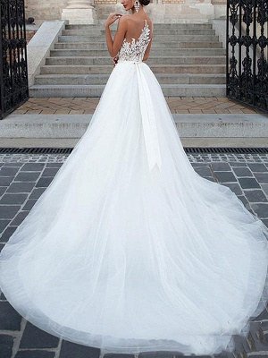 Vestidos de novia 2021 Cuello joya Una línea Longitud del piso Faja moldeada Vestido de desfile de tul Vestidos de novia_2