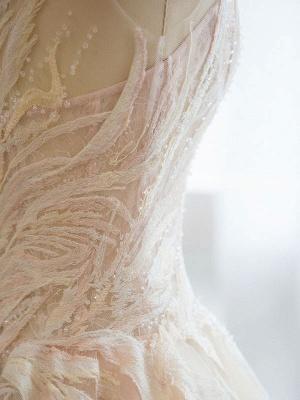 Brautkleid 2021 Prinzessin Silhouette Bodenlangen Jewel Neck Ärmellos Natürliche Taille Spitze Tüll Brautkleider_7