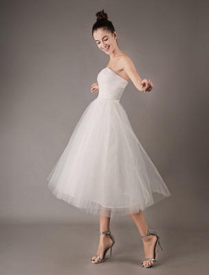 Vestidos de novia vintage Vestido de novia corto de tul sin tirantes hasta el té Exclusivo_7