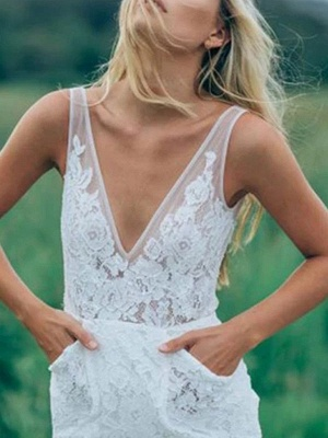 Boho Wedding Dresses Mermaid V Neck Sleeveless Lace Beach Bridal Dress With Train_4