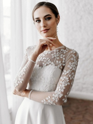White Simple Wedding Dress A-Line Illusion Neckline Long Sleeves Pearls Trainsatin Fabric Lace Bridal Gowns_3