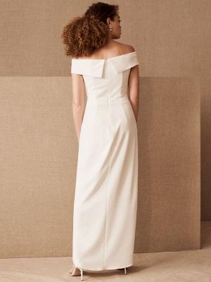 Einfaches Hochzeitskleid Schwarz Stretch Krepp Bateau-Ausschnitt Kurze Ärmel Plissee Etui Brautkleider_2