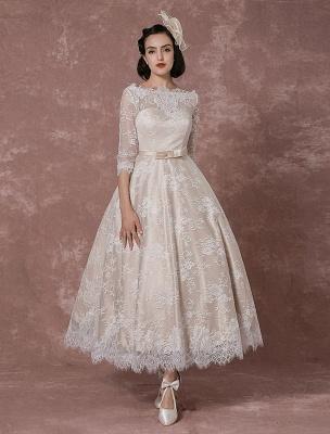 Lace Wedding Dress Vintage Bateau Champagne Half Sleeves Bridal Gown A Line Backless Tea Length Sash Reception Bridal Dress Exclusive_2