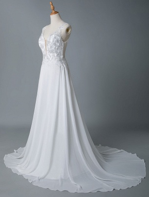 Simple Wedding Dress A Line V Neck Sleeveless Lace Illusion Back Bridal Gowns_6
