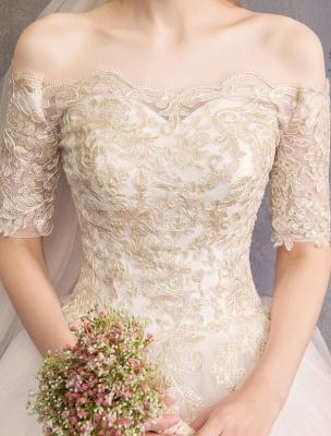 Tulle Wedding Dress Off The Shoulder Half Sleeve Princess Bridal Gown_9