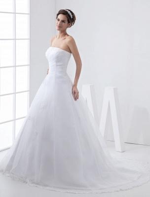 Robes de mariée blanches sans bretelles robe de mariée dentelle perles côté robe de mariée drapée avec train_2