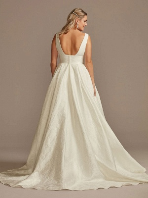 White Simple Wedding Dress Lace V-Neck Sleeveless A-Line Court Train Backless Bridal Gowns_2