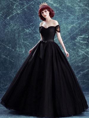 Robes de mariée gothiques Tulle princesse silhouette manches courtes taille naturelle robe de mariée plissée au sol_1