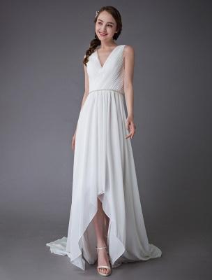 Beach Wedding Dresses Chiffon V Neck High Low Sash Summer Bridal Dress Exclusive_4