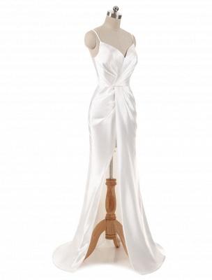 Brautkleider Meerjungfrau Ärmellose Abendkleider V-Ausschnitt Träger Split Elfenbein Brautkleid mit Hofzug Bridal_2