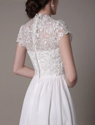 Sheath Wedding Dress V-Neck Lace Chiffon Pleated Floor Length Bridal Dress Exclusive_9