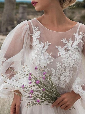Simple Wedding Dress A Line Tulle Jewel Neck Long Sleeves Lace Bridal Dresses_3