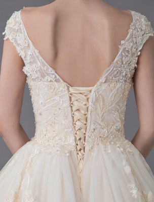 Wedding Dresses Princess Ball Gowns Champagne Lace Applique Beaded Colored Maxi Bridal Dress_9