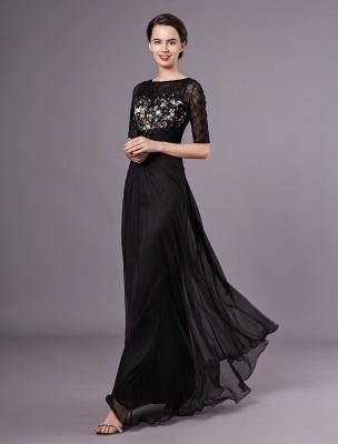 Schwarze Abendkleider Halbarm Spitze Perlen Chiffon Lange Abendkleider Hochzeitsgast Kleid_4