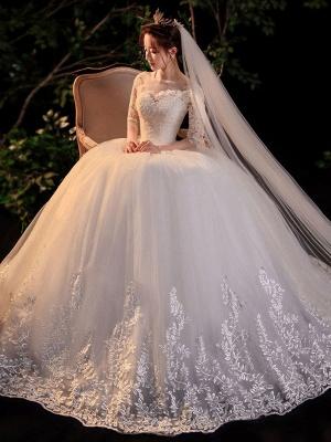 Simple Wedding Dress Eric White Ball Gown Jewel Neck Half Sleeves Applique Long Bridal Dresses_3