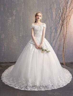 Ballkleid Prinzessin Brautkleider Elfenbein Spitze Perlenketten Schulterfrei Brautkleid_3