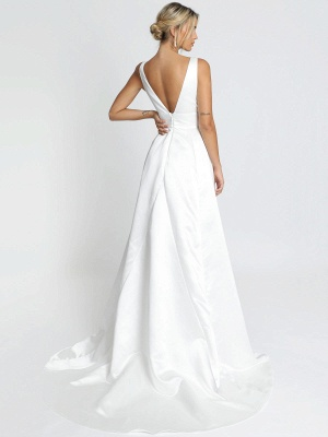 Weißes einfaches Hochzeitskleid Satin Stoff V-Ausschnitt ärmellose rückenfreie A-Linie Brautkleider_4