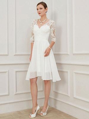 Ivory Short Wedding Dress Knee Length V Neck Half Sleeves A Line Natural Waist Chiffon Bridal Dresses_5