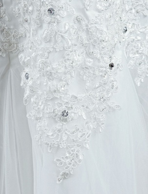 Tulle Wedding Dress Lace Beading Bridal Gown Strapless Sweetheart Chapel Train A-Line Backless Bridal Dress_9