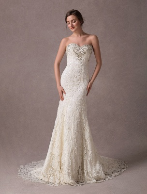 Mermaid Wedding Dresses Lace Strapless Ivory Sweetheart Beaded Bridal Dress With Train Exclusive_3