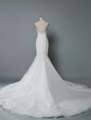 Einfache Brautkleider Spitze V-Ausschnitt Ärmellose Spitze Meerjungfrau Brautkleider mit Zug With_3