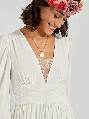 Robe de mariée simple ivoire A-ligne col en V manches longues plissée au sol en mousseline de soie robes de mariée_4