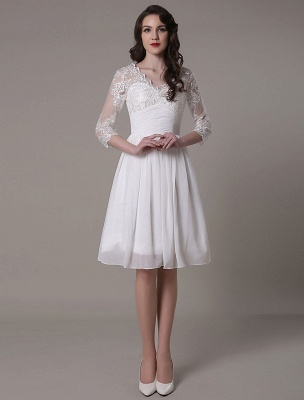 Simple Wedding Dressses Chiffon V Neck Lace A Linepleated Bridal Dress Exclusive_4