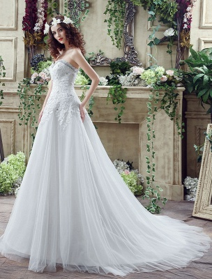 Tulle Wedding Dress Lace Beading Bridal Gown Strapless Sweetheart Chapel Train A-Line Backless Bridal Dress_3