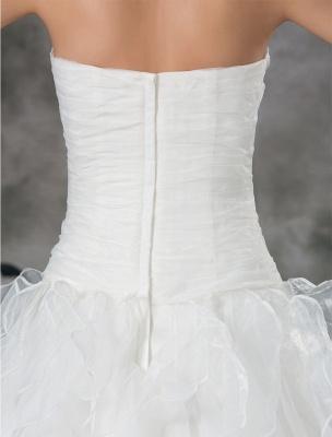 Glamouröses Elfenbein Gerafftes Herzausschnitt A-Linie Brautkleid aus Organza_8
