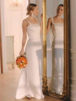 White Vintage Wedding Dresses Strapless Sleeveless Natural Waist Satin Fabric Floor-Length Bridal Gowns_2