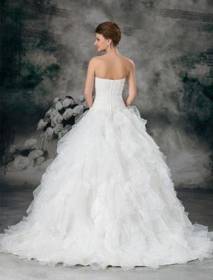Glamouröses Elfenbein Gerafftes Herzausschnitt A-Linie Brautkleid aus Organza_4