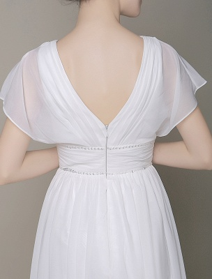 Plunging Chiffon Beach Wedding Dress A-Line Ivory V-Neck Pleated Belt Short Sleeves Bridal Dress With Court Train Exclusive_7