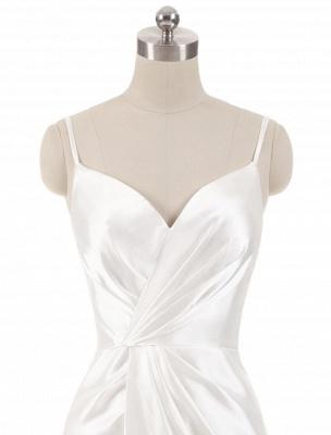 Brautkleider Meerjungfrau Ärmellose Abendkleider V-Ausschnitt Träger Split Elfenbein Brautkleid mit Hofzug Bridal_5