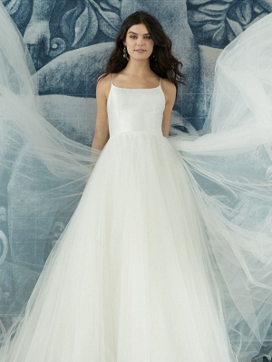 White Wedding Dress Designed Neckline Sleeveless Backless Zipper Tiered With Train Tulle Long Bridal Gowns_5