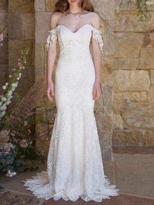 Simple Wedding Dresses 2021 Lace Sweetheart Off The Shoulder Mermaid Bridal Gown With Train For Boho Wedding_1