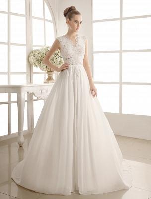 Wedding Dresses Chiffon V Neck Beach Bridal Dress Pearls Beaded Lace Ivory Bridal Gown_2