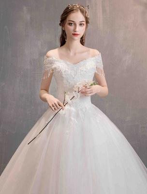 Tüll Brautkleider Prinzessin Brautkleid Schulterfrei Spitze Applique Bodenlangen Ballkleid Brautkleid_5