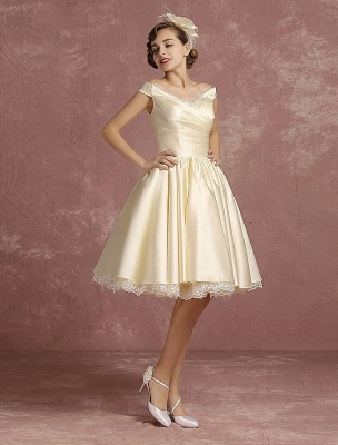 Short Wedding Dresses Satin Vintage Princess Bridal Dress Knee Length Sleeveless Lace Edge Pleated Bridal Gown With Ribbon Bow Exclusive_6