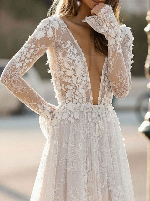 Simple Wedding Dress A Line V Neck Long Sleeves Lace Floor Length Bridal Gowns_3