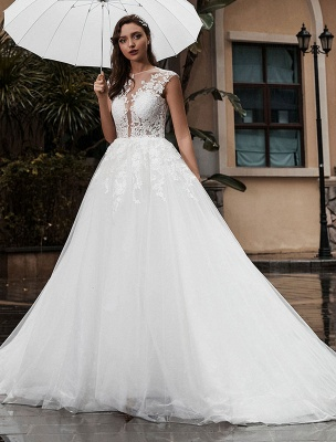 Preises Brautkleid Spitze Mieder Tüll Satin Stoff Sweep Zug Applikation Brautkleid Exklusiv Wedding_1