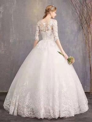 Robes de mariée Eric White Jewel Neck Half-Manches Soft Tulle Lace Up Floor Length Robes de mariée_2